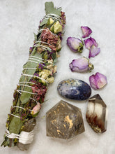 Load image into Gallery viewer, Ceremonial Ritual Smoke Wand - Eucalyptus Rose Liatris Carnation Smoky Citrine