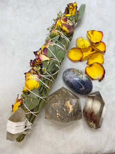 Ceremonial Ritual Smoke Wand - Eucalyptus Chamomile Rose Carnation Smoky Citrine