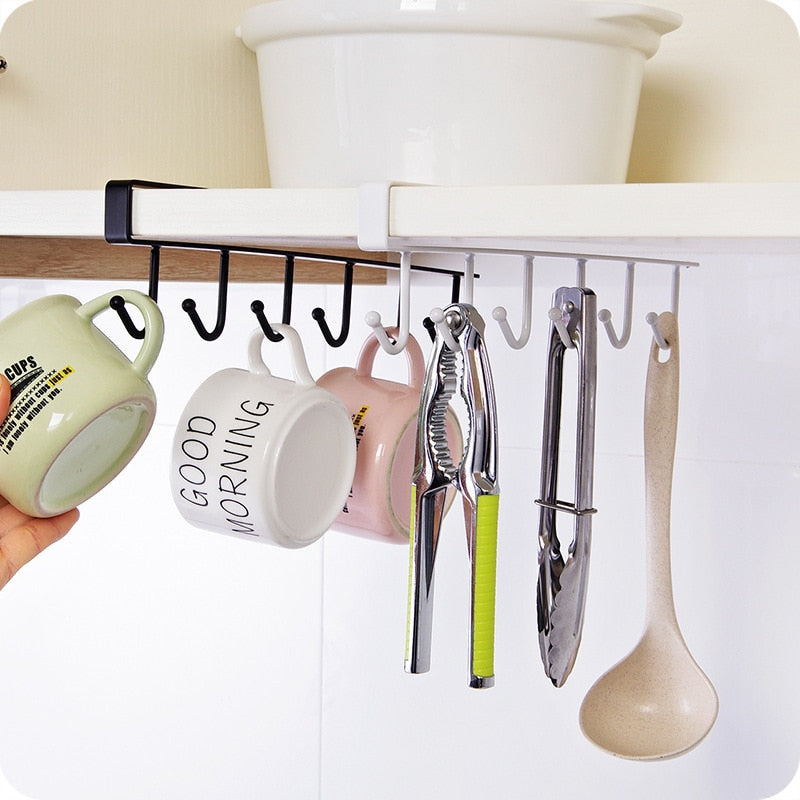 6 Hooks Cup Holder Kitchen Organizer Cabinet