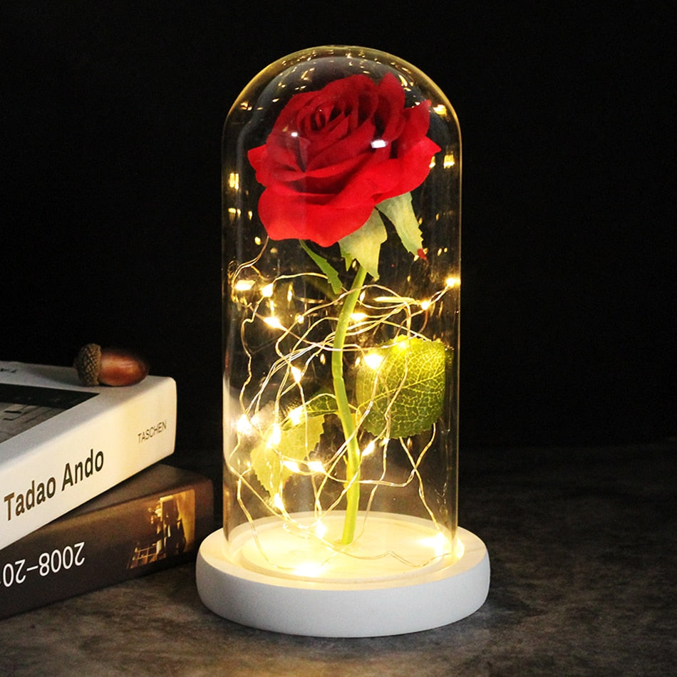 LED Light Flower Rose Glass Dome