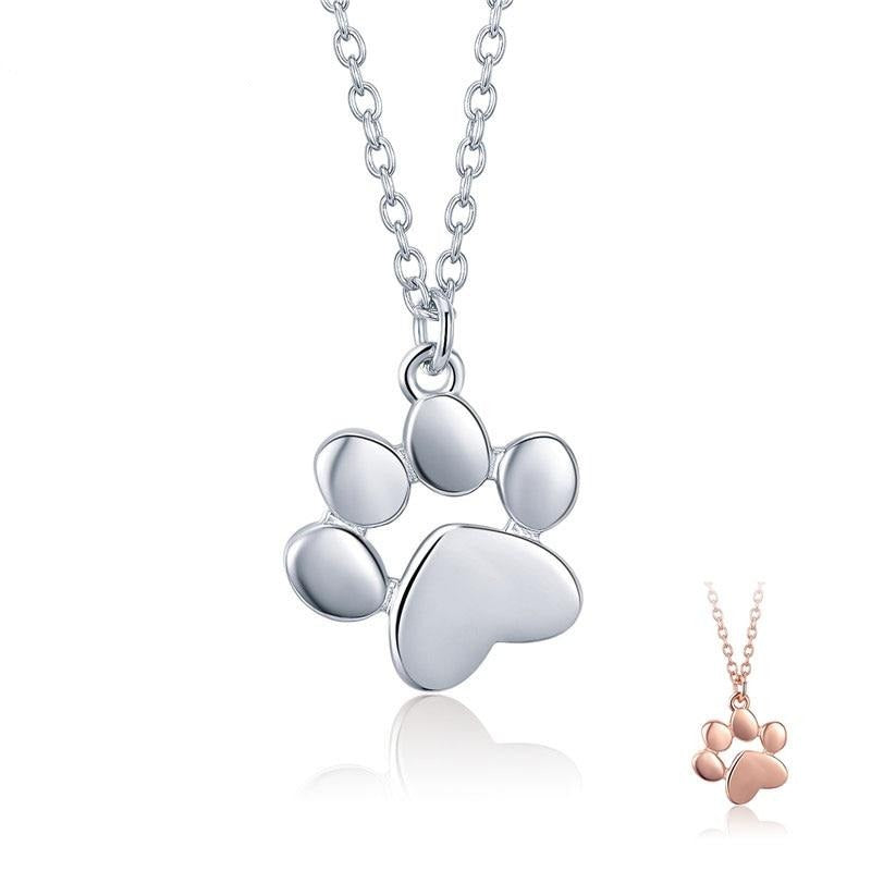 Cute Animal Footprints Dog Cat Footprints Paw Necklaces