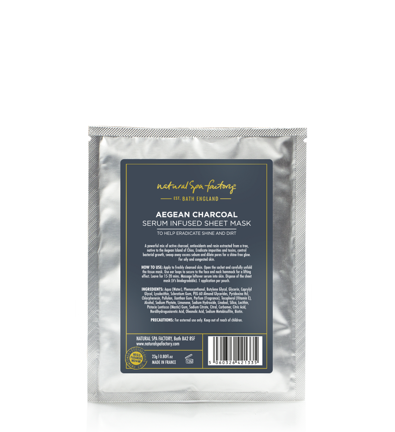 ANTI POLLUTION AEGEAN CHARCOAL SERUM INFUSED SHEET MASK - TO HELP ERADICATE SHINE & DIRT (23G) - SET OF 3 - VEGAN FRIENDLY