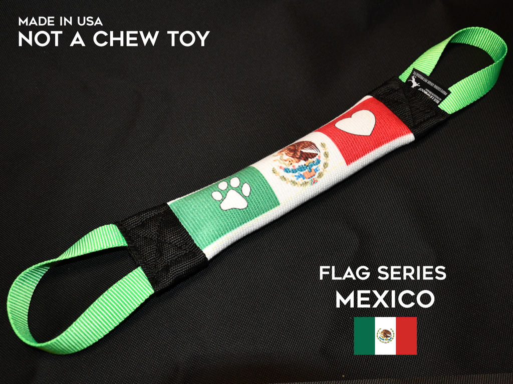 MEXICO THEMED FLAG  FIRE HOSE TUG - FLAG SERIES - Bulletproof Pet Products Inc