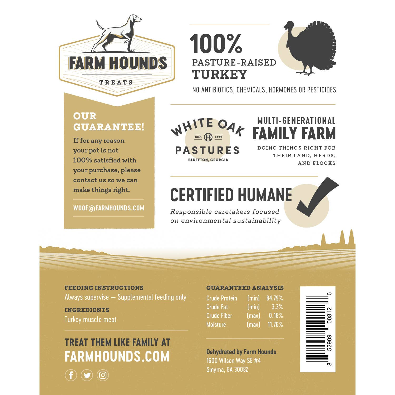 FARM HOUNDS TURKEY JERKY - PASTURE RAISED TURKEY - 3.5 oz - - Bulletproof Pet Products Inc