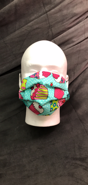 1 HANDCRAFTED MASK -CUPCAKES - WITH FILTER POCKET - Bulletproof Pet Products Inc