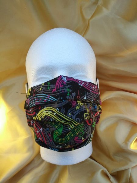 HANDCRAFTED MASK -COLORFUL MUSIC SWIRLS ON BLACK- WITH FILTER POCKET - Bulletproof Pet Products Inc