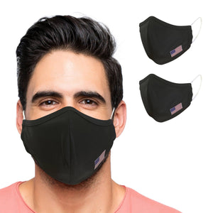 US Flag Cloth Face Mask 2 Layers Reusable and Washable - Black - Bulletproof Pet Products Inc