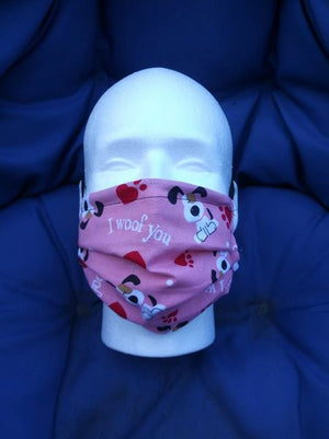 HANDCRAFTED MASK -I WOOF YOU DOGS ON PINK BACKGROUND- WITH FILTER POCKET - Bulletproof Pet Products Inc