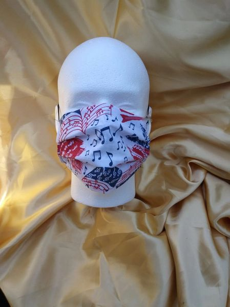 HANDCRAFTED MASK -PATRIOTIC MUSIC NOTES - WITH FILTER POCKET - Bulletproof Pet Products Inc