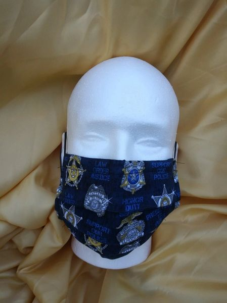 HANDCRAFTED MASK - LAW ENFORCEMENT/BADGE FABRIC - WITH FILTER POCKET - Bulletproof Pet Products Inc