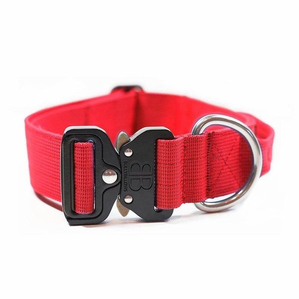 "Bully Billows 1.5"" (4CM) Combat Collar with handle - Red - Bulletproof Pet Products Inc"