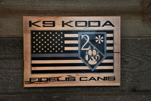 PERSONALIZED THIN BLUE LINE FIDELIS CANIS SIGN - PUT YOUR K9'S NAME ON TOP! - Bulletproof Pet Products Inc
