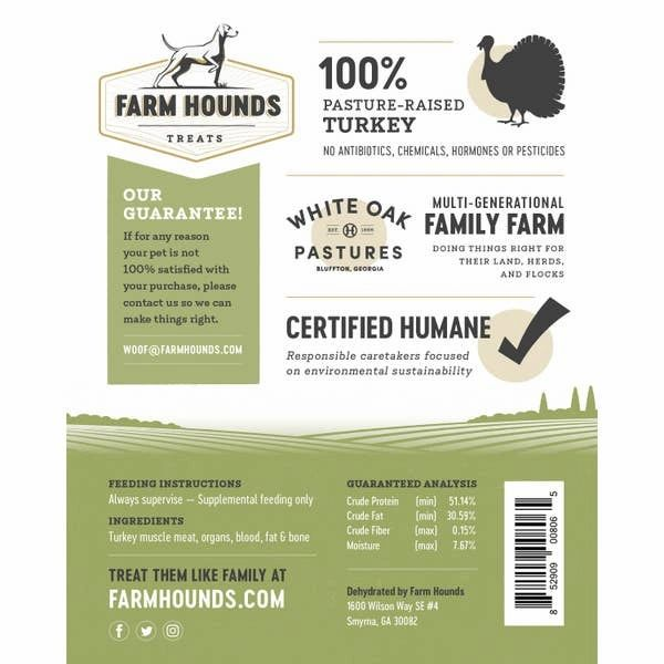 FARM HOUNDS TURKEY TREATS -Made in the USA - Bulletproof Pet Products Inc