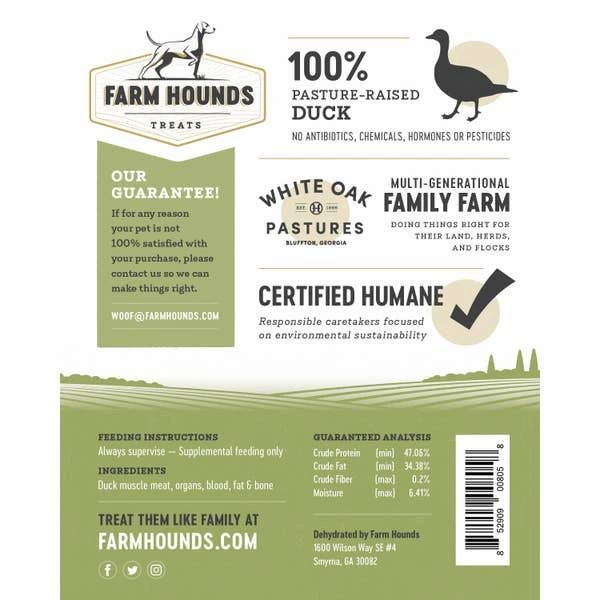FARM HOUNDS DUCK TREATS - Made in the USA - Bulletproof Pet Products Inc