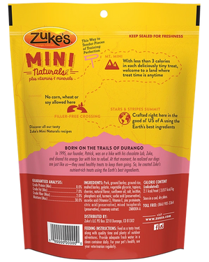 Zuke's Mini Naturals Moist Dog Treats - Pork Recipe - 6 oz - Bulletproof Pet Products Inc
