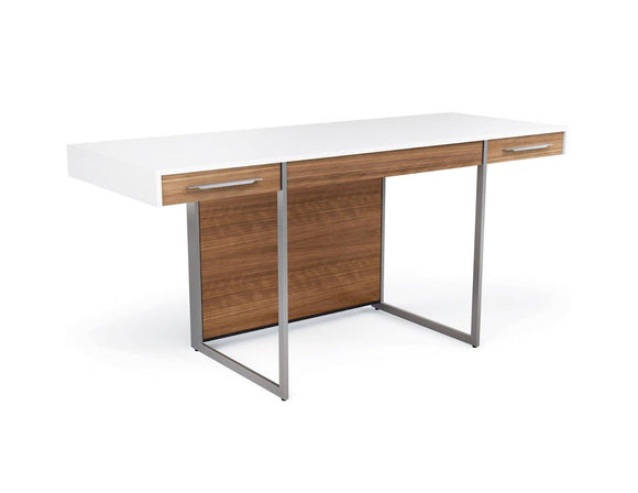 WRITING DESK, WHITE/WALNUT