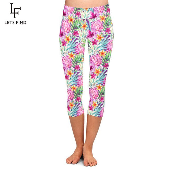 LETSFIND Summer Style Beautiful Flowers Digital Printing Fitness Capri Legggings High Waist Plus Size Mid-Calf 3/4 Leggings