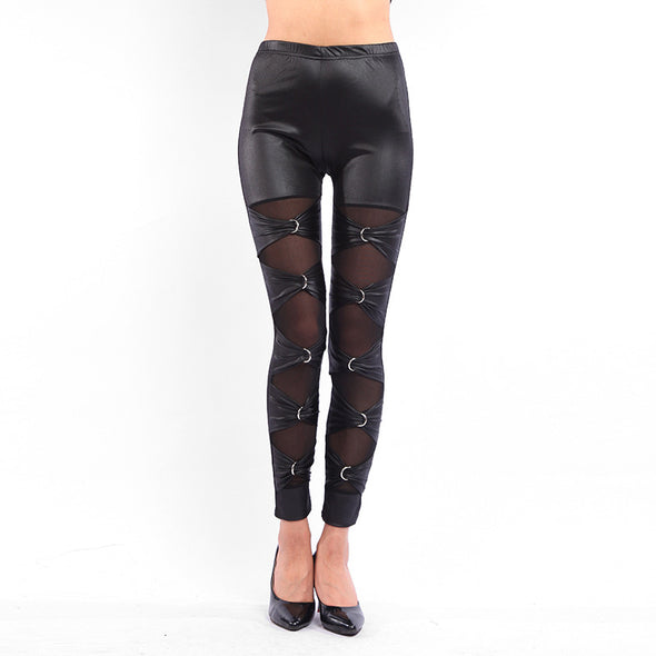 Gothic Lace Up Leather Leggings