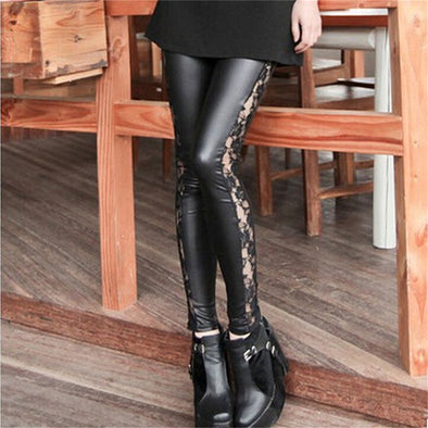 Sexy Faux Leather Lacey Women Leggings