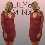 Lady Lace Dress in Red by Electric Honey