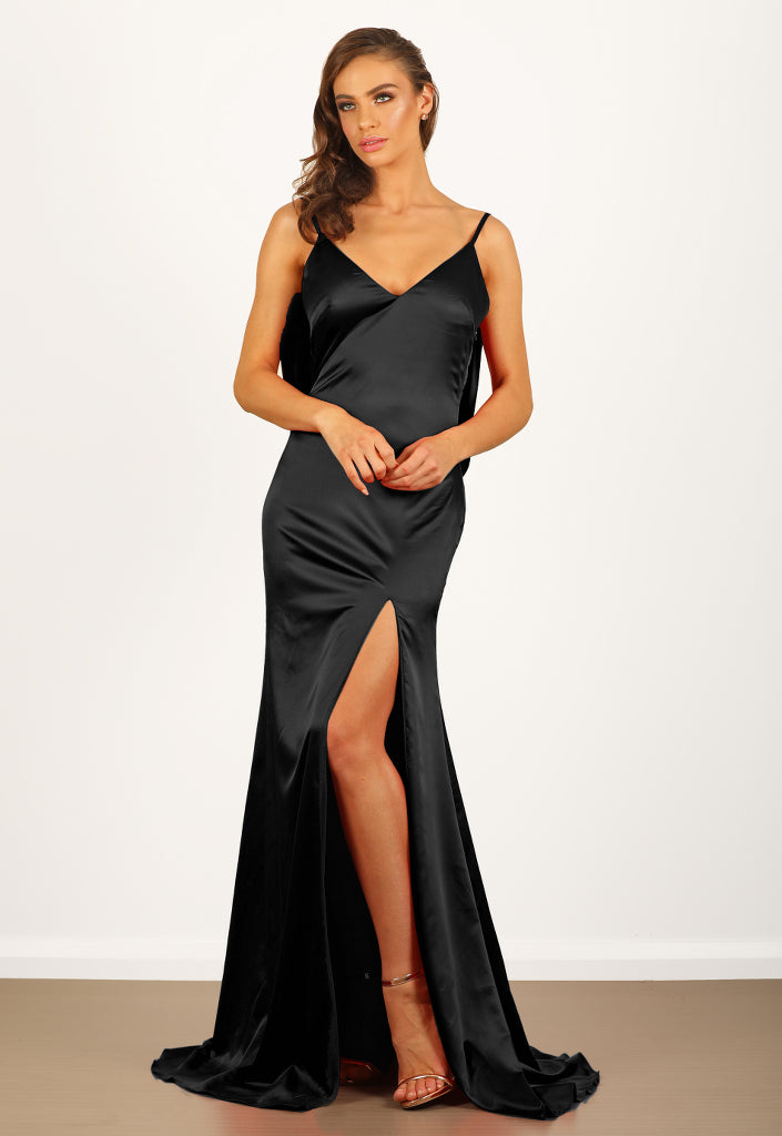 Camellia Satin Gown in Black