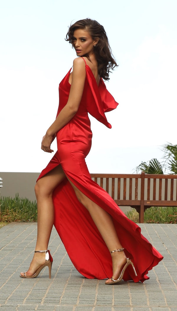 Camellia Satin Gown in Red