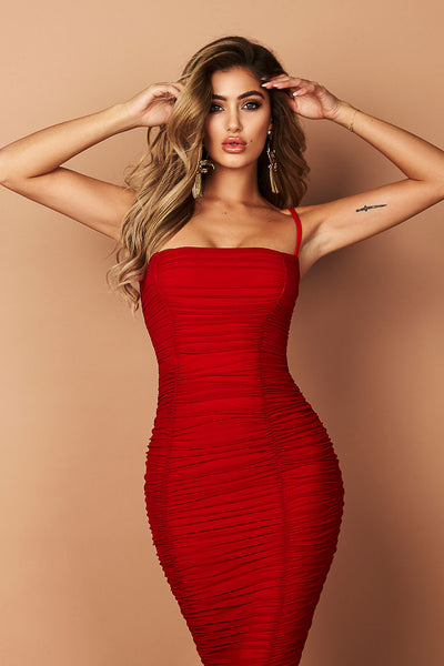 Mystic Mesh Midi Dress in Red by Nookie
