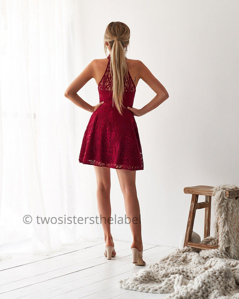 Tara Mini Dress in Red by Two Sisters the Label