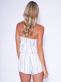 Reverse Official playsuit, back view of the strapless Calling Charlie Playsuit in white.