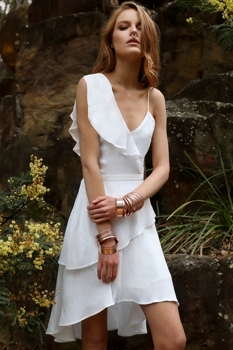 Alexa mini Dress in White by Runaway The Label  front veiw