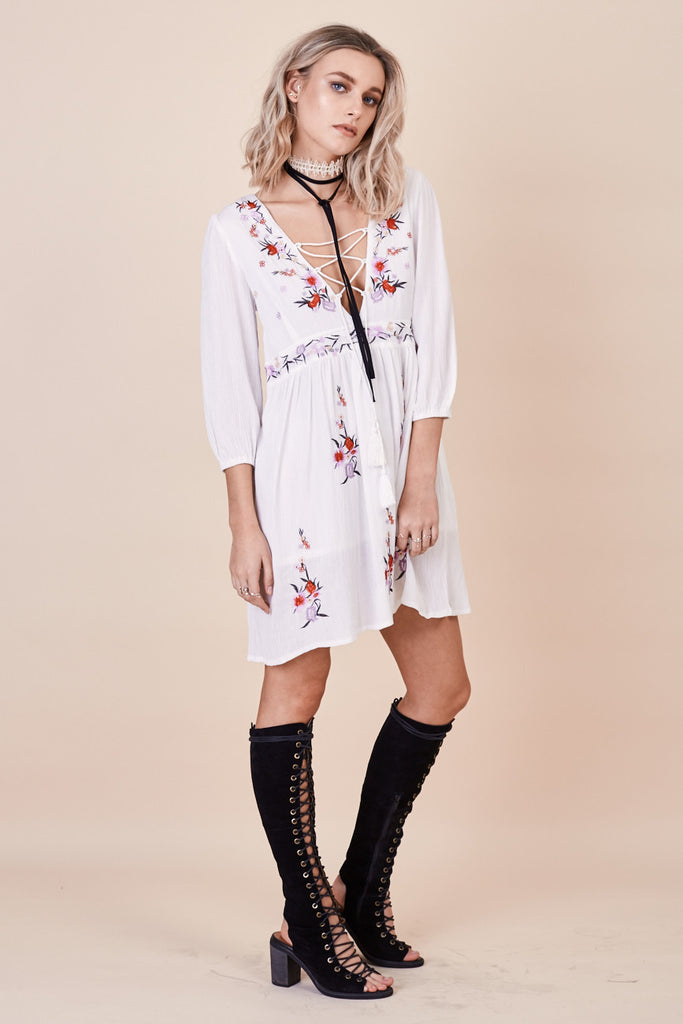 Sun Chaser Embroidered Dress in White by Morrisday The Label