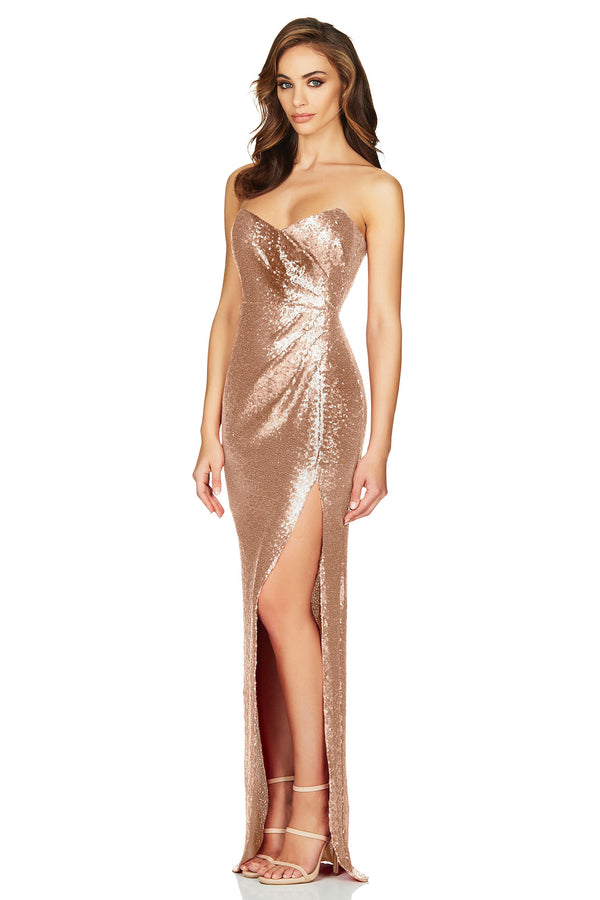 Adele Sequin Gown Dress in Champagne by Nookie