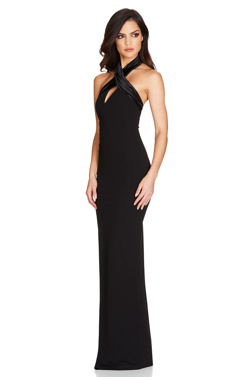 Black Alias Halter Gown | by Nookie the Label