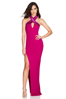 Hot Pink Alias Halter Gown | by Nookie the Label
