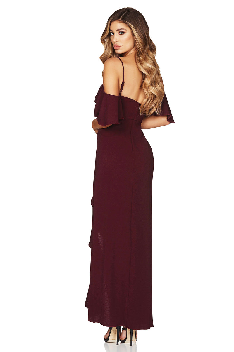 Angel Frill Maxi in Wine by Nookie