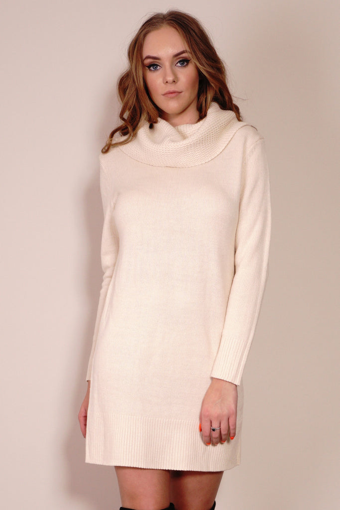 Anarchy Cowlneck Dress in Beige Front Crop View