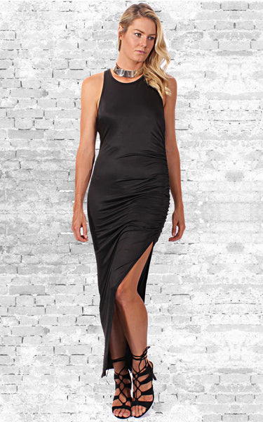 Aspiration Dress in Black by Electric Honey Front Full View 2