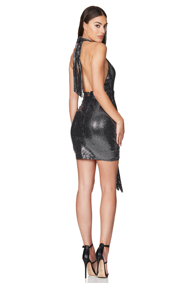 Bellagio Mini Dress in Gunmetal by Nookie the Label