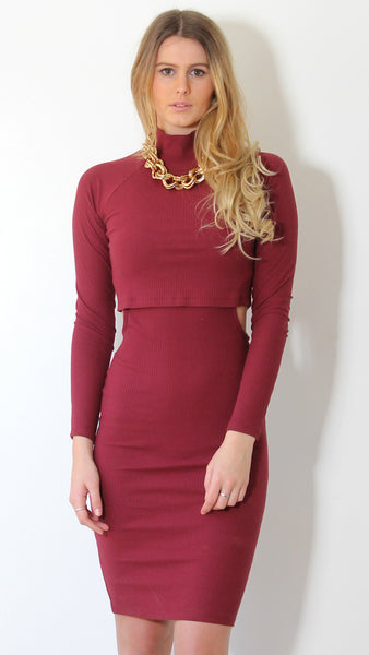 Back to Black Knit Dress in Plum by Madison Square Clothing