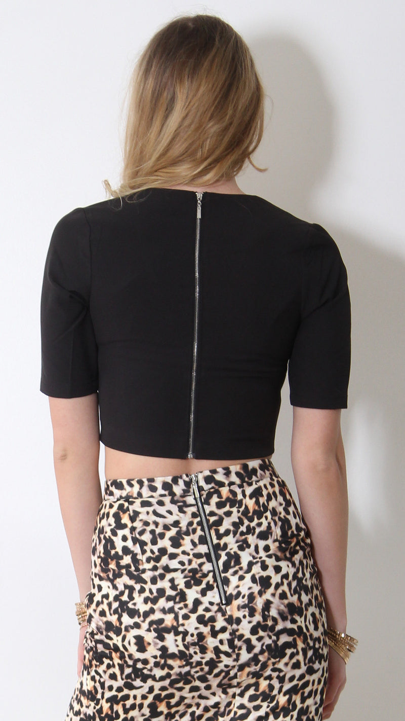Runaway top, crop back view of the Brody Crop Top in black.