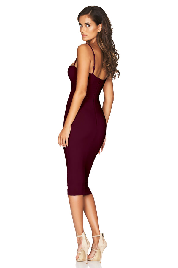 Charlize Strap Midi Dress in Wine by Nookie