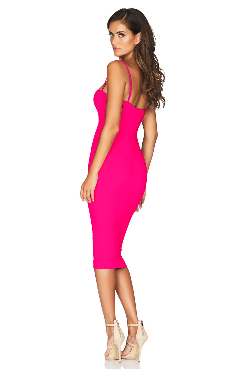 Hot Pink Charlize Strap Midi Dress | by Nookie the Label
