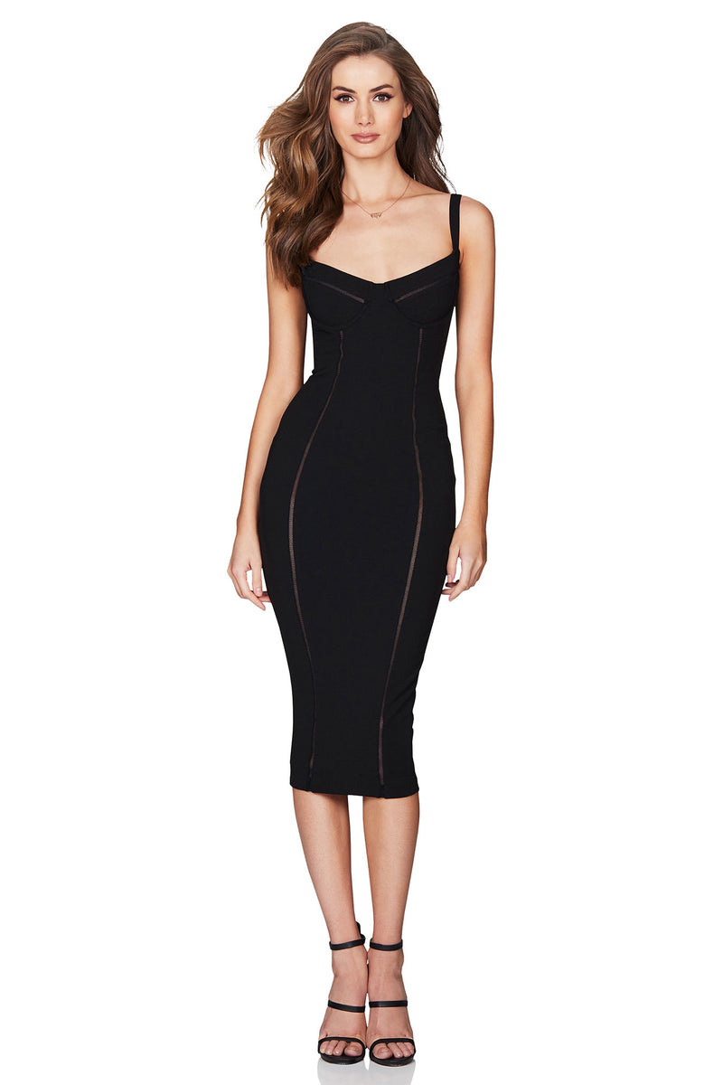 Chicago Midi Dress in Black by Nookie