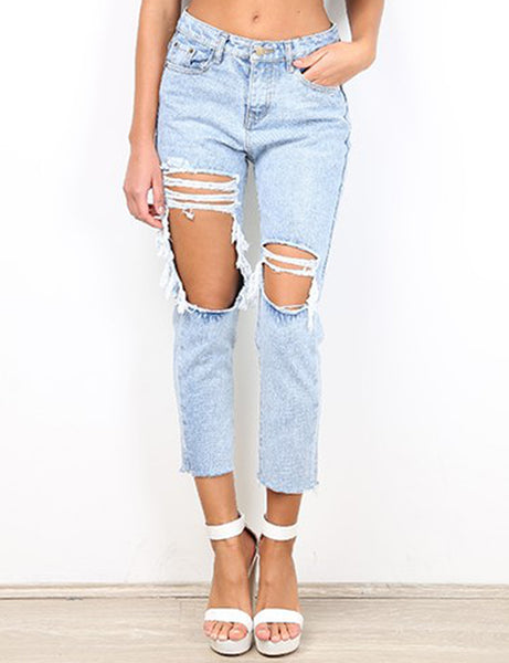 Cassie Ripped Jeans in Light Blue Front Crop View