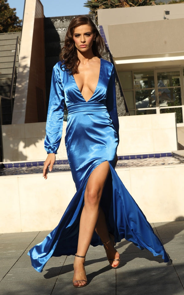 Charliz Satin Gown in Blue