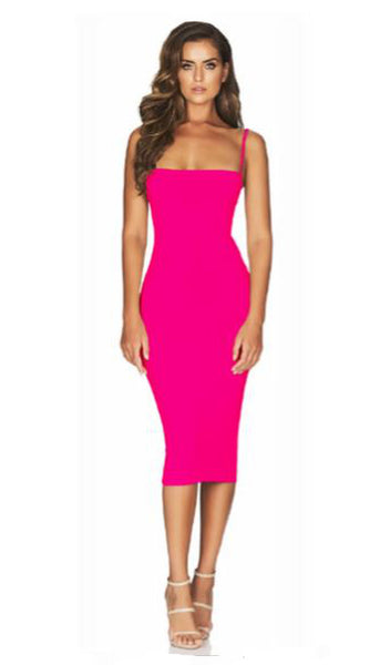 Charlize Midi Dress in Hot Pink by Nookie