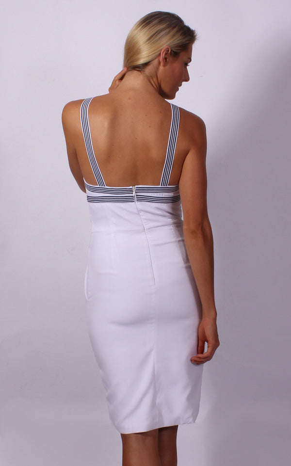 Runaway the Label dress, cropped rear view of the Clara Midi in white.