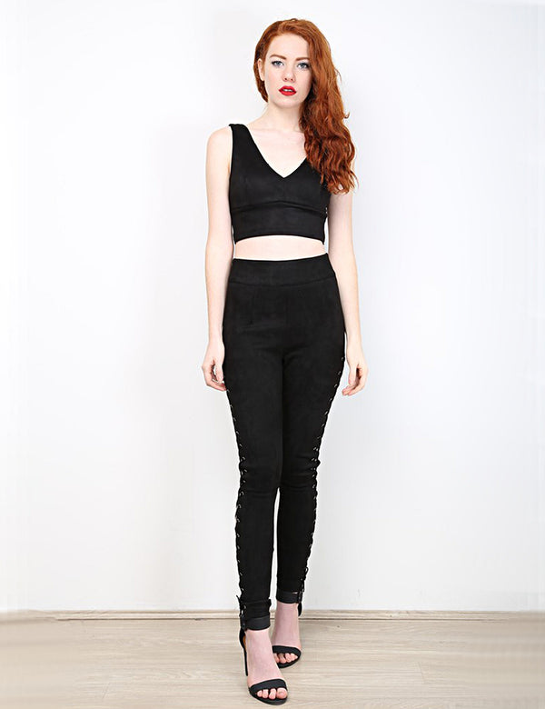 Cupid Laced Leggings in Black front full view