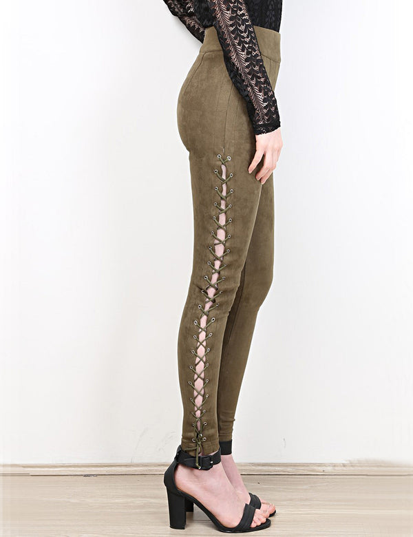 Cupid Laced Leggings in Khaki side crop view