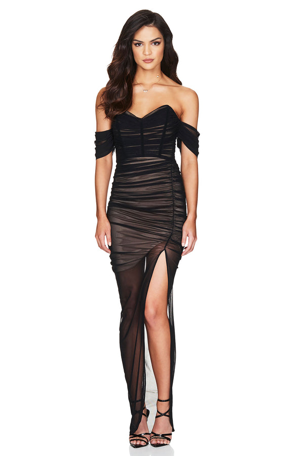 Black Dita Mesh Gown Dress | Nookie the Label 1